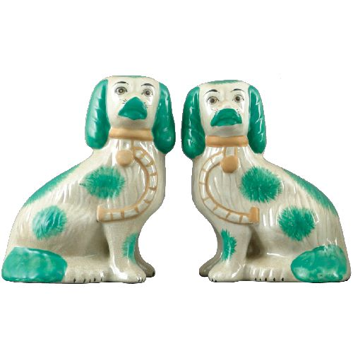 We love this charming pair of Staffordshire dogs!  Place them on a bookshelf or on an entry table.  They can also be used as bookends!  Ceramic with glazed crackle finish. Each measures 5