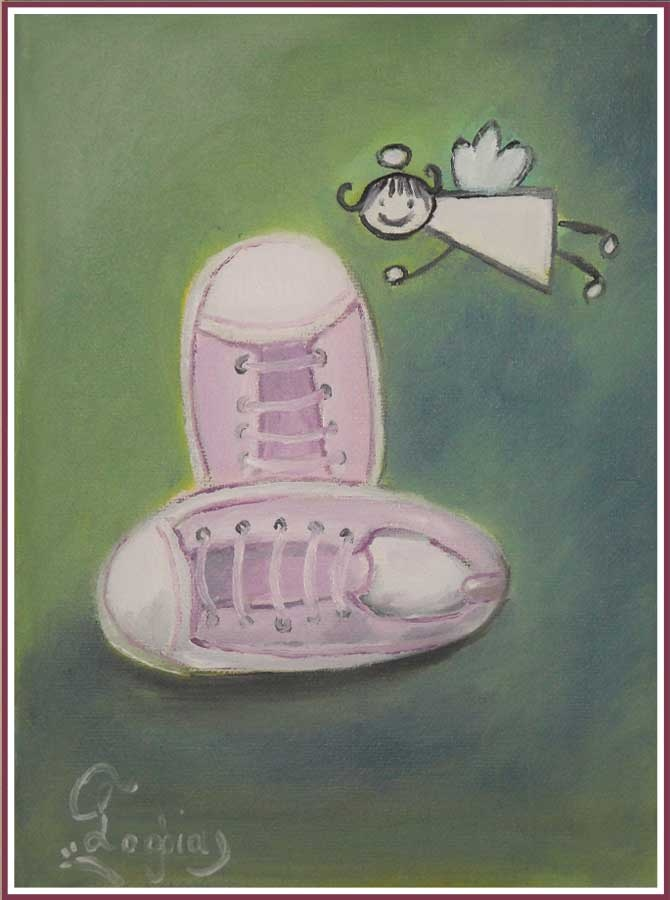baby shoes, oil painting
