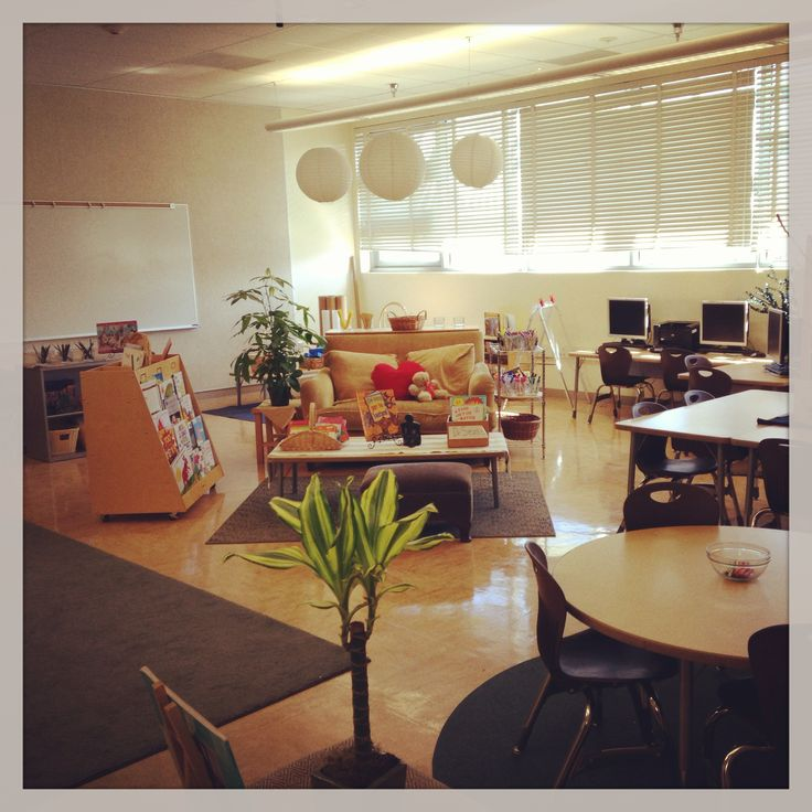 My classroom. Based on a Reggio Inspired theory, I try to create a space that is welcoming and warm. The colors are neutral and very calming. Tables are arranged to encourage dialogue. Materials are accessible and available. There is a place to construct using multiple modalities and a dramatic play area to inspire ideas.