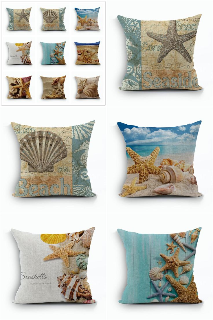 [Visit to Buy] Mediterranean Style Cushion Cover Marine decoration Pillowcase Linen Cotton Pillow Cushions Covers 45x45cm beach decor shell #Advertisement