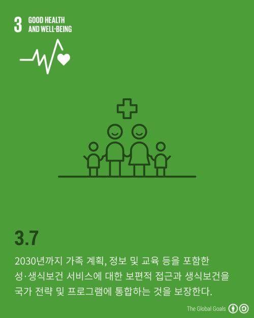 SDGs 세부목표 3.7은 가족 계획, 정보 및 교육 등을 포함한 성·생식보건 서비스에 대한 보편적 접근과 생식 보건을 국가 전략 및 프로그램에 통합하는 것을 목표로 합니다. 유엔인구기금(UNFPA)에서는 1994년 카이로에서 당시 세계 최대 정부 간 회의를 소집하였습니다. 생식 건강이 인권의 기본임을 명시한 ICPD 행동계획(Programme of Action, PoA)에는 179개 참가국이 서명하였고, 카이로행동계획의 핵심 행동과 행동 방안에 대한 문서가 1999년 7월 유엔총회에서 채택되었습니다. 카이로행동계획은 2015년까지 추진할 세 가지 목표를 설정하였습니다. 신생아ž아동ž산모사망 감소, 교육(특히, 여아 교육)에 대한 보편적 접근 보장, 가족 계획을 포함한 모든 범위의 생식 보건 서비스에 대한 보편적 접근 보장이 그 목표입니다. 이에 SDGs에서도 카이로행동계획의 목표를 포함하고 있습니다. #SDGs #SustainableDevelopmentGoals…
