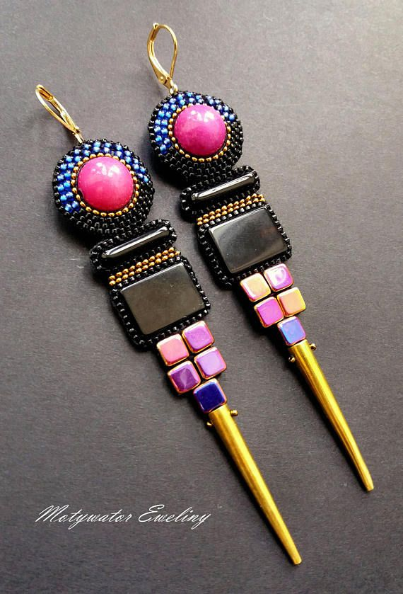 Geometrical Amaranth Earrings with Onyx and Marble