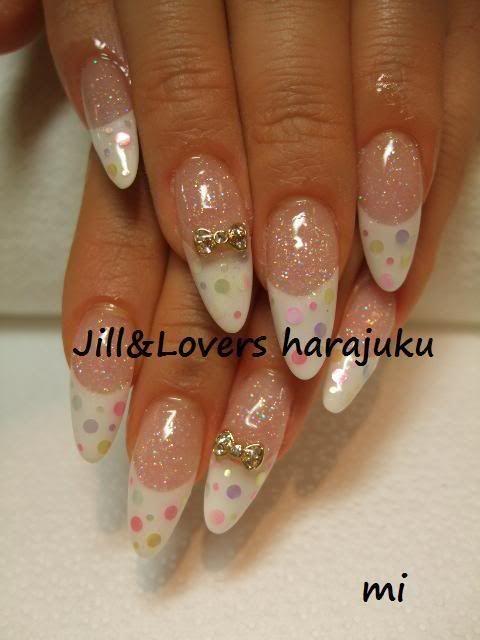 stiletto nail designs | nail polish nail art nail design french glitter dots bows stiletto ...