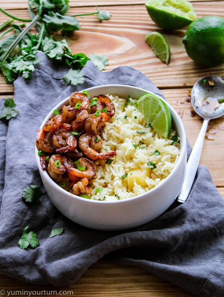 Jerk Shrimp With Pineapple Rice- This is an easy-peasy 30 minute meal, with restaurant quality taste. This is the best recipe for jerk shrimp and rice!