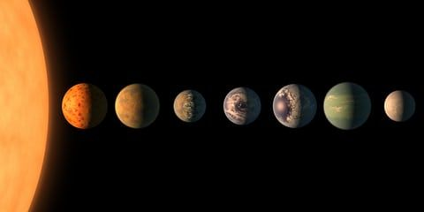 February brought extremely exciting news: the thrilling discovery of seven Earth-sized planets found orbiting the nearby Trappist-1 star, raising hope that the hunt for alien life beyond the solar system can start much sooner than previously thought. This artist's concept shows what the planetary system may look like, based on available data about the planets' diameters, masses and distances from the host star.
