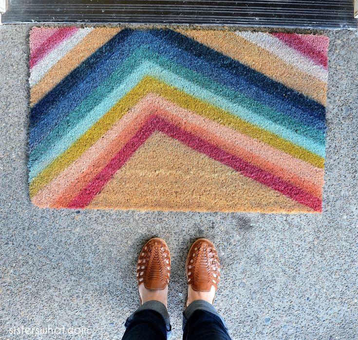 Paint Your Own Colorful Door Mat Door Mat Diy Door Mat Modern Doormats