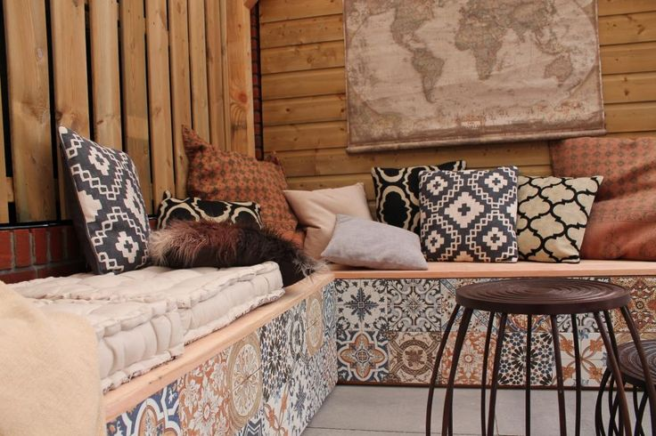 outdoor bench with portugese cement tiles