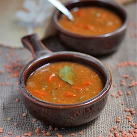 Hearty and healthy lentil soup with thyme.