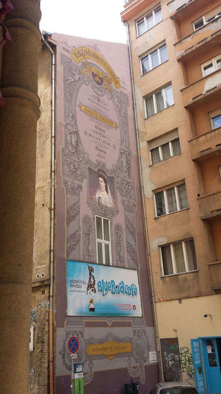 Princess Sissi's portrait. Murales in Budapest