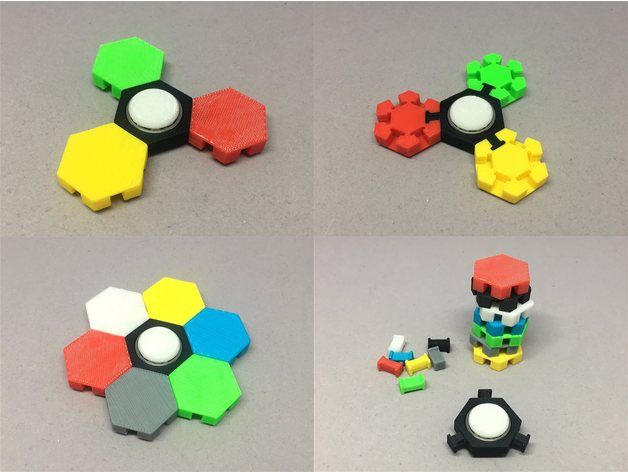 """https://youtu.be/jraIan5HN6E Interchangeable hex tile fidget spinner. When your spinner grows too big, use the """"grip"""". I recommend ABS filament to print this model. PLA is too hard for snap fitting. 2017-06-01 Added pin remover, tile with M8 nut, and demo video. [Japanese] 組み換え自由な六角タイルスピナーです。 持てない大きさになったら、下から持てる""""grip""""を使って下さい。 素材はABSを推奨します。PLAだと固くてピンの着脱が厳しいです。 2017-06-01 ピン外し器とM8ナット埋め込みタイルのデータを追加しました。それと動画も。"""