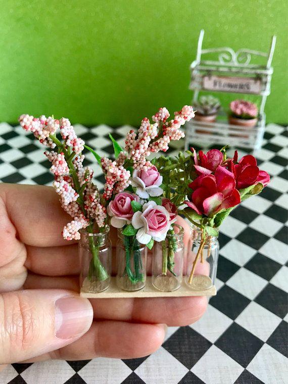 Miniature Flower Cart Dollhouse Garden Plants And Flowers 1 12