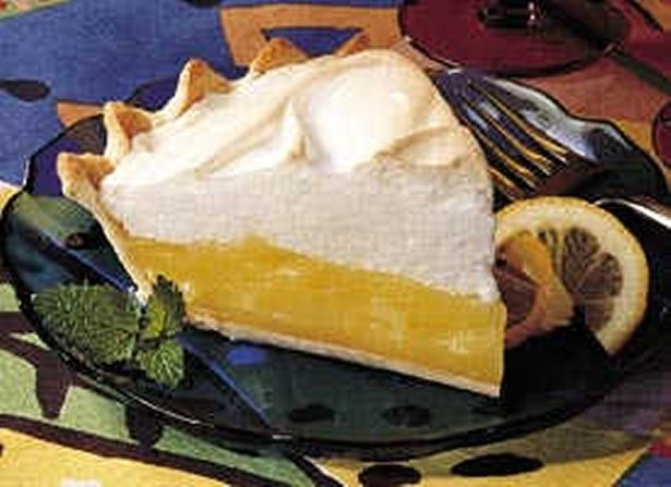 Luscious Lemon Meringue Pie    Ingredients:  Pastry    1 cup Gold Medal® all-purpose flour     1/2 teaspoon salt     1/3 cup plus 1 tablespoon shortening      2 to 3 tablespoons cold water     Filling    3 egg yolks     1 1/2  cups sugar     1/3 cup plus 1 tablespoon cornstarch     1 1/2 cups water     3 tablespoons butter or margarine     2 teaspoons grated lemon peel     1/2 cup lemon juice     2 drops yellow food color, if desired     Meringue    3 egg whites     1/4 teaspoon cream of tartar     6 tablespoons sugar     1/2 teaspoon vanilla     Directions:    Step 1   In medium bowl, mix flour and salt. Cut in shortening, using pastry blender (or pulling 2 table knives through ingredients in opposite directions), until particles are size of small peas. Sprinkle with cold water, 1 tablespoon at a time, tossing with fork until all flour is moistened and pastry almost cleans side of bowl (1 to 2 teaspoons more water can be added if necessary).    Step 2     Gather pastry into a ball. Shape into flattened round on lightly floured surface. Wrap in plastic wrap; refrigerate about 45 minutes or until dough is firm and cold, yet pliable. This allows the shortening to become slightly firm, which helps make the baked pastry more flaky. If refrigerated longer, let pastry soften slightly before rolling.    Step 3     Heat oven to 475°F. With floured rolling pin, roll pastry into round 2 inches larger than upside-down 9-inch glass pie plate. Fold pastry into fourths; place in pie plate. Unfold and ease into plate, pressing firmly against bottom and side. Trim overhanging edge of pastry 1 inch from rim of pie plate. Fold and roll pastry under, even with plate; flute as desired. Prick bottom and side of pastry thoroughly with fork. Bake 8 to 10 minutes or until light brown; cool on cooling rack.    Step 4     Reduce oven temperature to 400°F. In small bowl, beat egg yolks with fork. In 2-quart saucepan, mix sugar and cornstarch; gradually stir in water. Cook over medium heat, stirring constantly, until mixture thickens and boils. Boil and stir 1 minute.    Step 5     Immediately stir at least half of hot mixture into egg yolks; stir back into hot mixture in saucepan. Boil and stir 2 minutes; remove from heat. Stir in butter, lemon peel, lemon juice and food color. Pour into pie crust.    Step 6     In medium bowl, beat egg whites and cream of tartar with electric mixer on high speed until foamy. Beat in sugar, 1 tablespoon at a time; continue beating until stiff and glossy. Do not underbeat. Beat in vanilla. Spoon onto hot pie filling. Spread over filling, carefully sealing meringue to edge of crust to prevent shrinking or weeping.  7 Bake 8 to 12 minutes or until meringue is light brown. Cool away from draft 2 hours. Cover and refrigerate cooled pie until serving. Store in refrigerator.Pies Recipe, Yummy Food, Yummy Sweets, Lemon Meringue Pies, Betty Crocker, Luscious Lemon, Yummy Lemon, Pie Recipes, Favorite Recipe