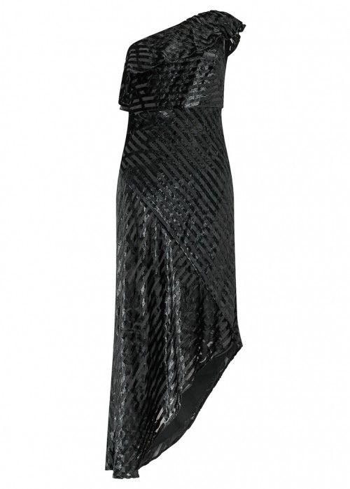 AIDAN MATTOX BLACK ONE SHOULDER DRESS - SIZE UK 8. #aidanmattox #cloth #