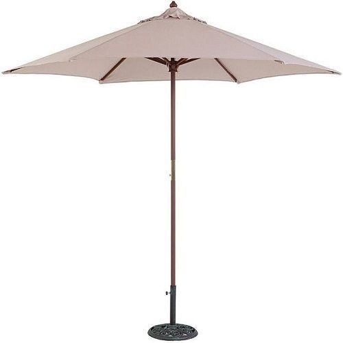 Deck Umbrella Patio Garden Sun Shade Wood Beige Cover Furniture Heat Beach Yard #DeckUmbrellaPatio #GardenUmbrella