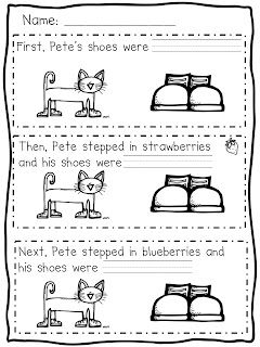 Pete the Cat -- This FREE activity uses color words and sequence words.
