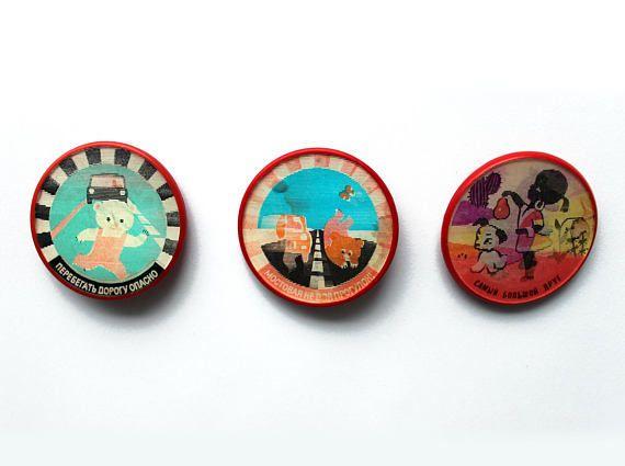 Soviet stereo pin badges set vintage road traffic safety