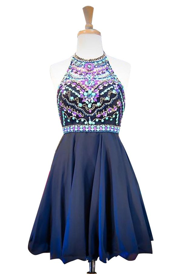 Halter Beading Chiffon Homecoming Dress,Sexy Party Dress,Charming Homecoming…