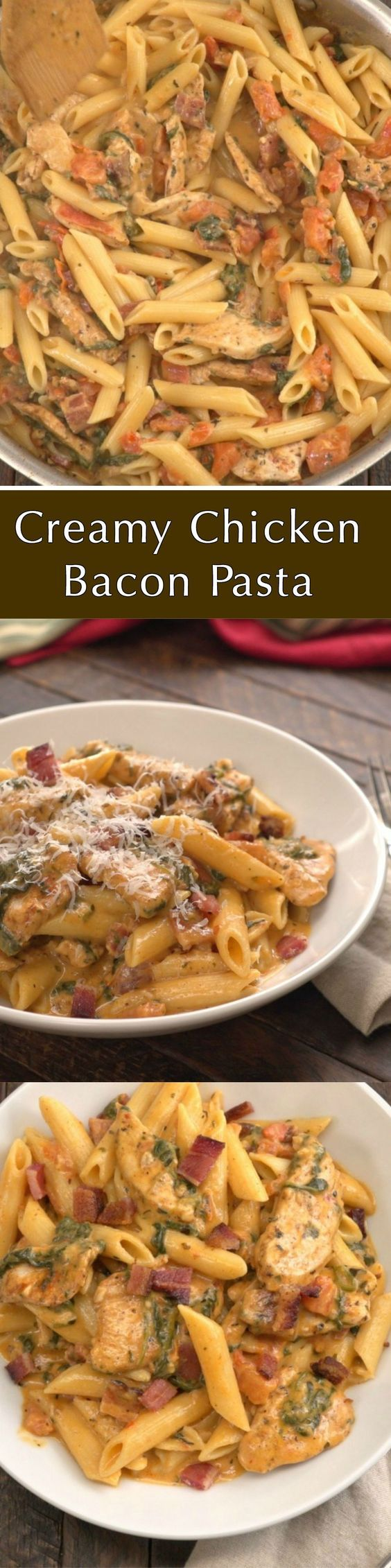 This rich creamy pasta with chicken and bacon is comfort food at it's best.