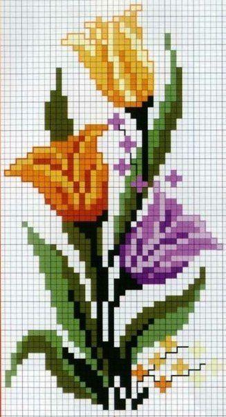 Como hacer bordados de tulipanes en punto de cruz