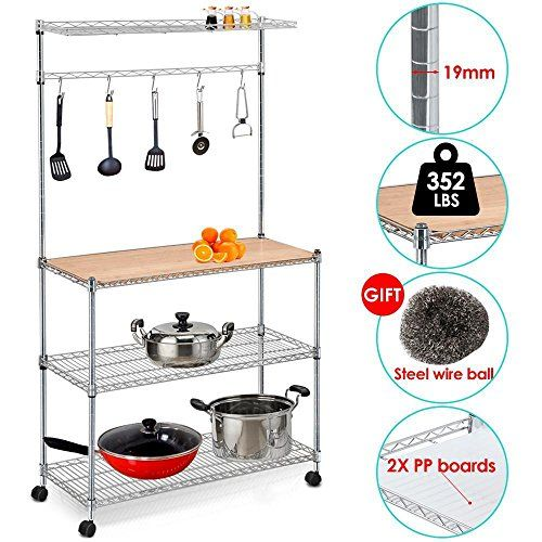 """Yaheetech 61'' 4 Tiers Adjustable Kitchen Bakers Rack Kitchen Cart Microwave Stand Cutting Board Workstation  Yaheetech Multi-functional Kitchen Workstation in welded steel wire mesh structure  Dimensions: 35"""" L x 14"""" W x 61"""" H  Eco-friendly and chemical free material, safe and healthy  Storage shelves accommodate heavy items - rated 200-pounds per main shelf without castors  Comes with three adjustable shelves, a hanging rail and a top shelf"""