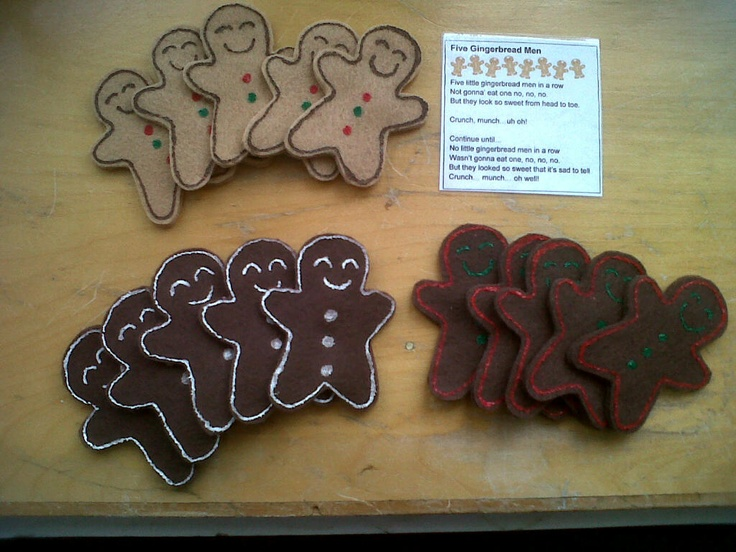 Five Little Gingerbread Men Finger Puppet Set.  Includes: 5 gingerbread men finger puppets, a laminated copy of the song/activity and comes in a Ziploc bag for storage. 3 styles to choose from :)