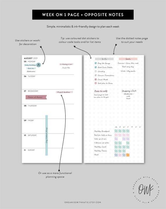 Personal 2019 2020 Weekly Planner Printable Week On 1 Page With