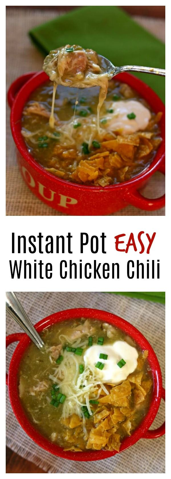 Instant Pot White Chicken Chili–this is a quick to make chili (only 5 minutes of pressure cooking time) that tastes like it's been simmering all day. You can make this recipe with uncooked chicken or cooked chicken or turkey. #instantpot