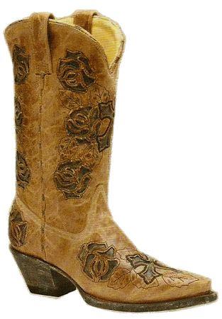 Ladies Antique Saddle/Black Rose And Cross Snip Toe R2462: Cowgirl Boots, Antiques Rose, Antique Roses, Ladies Antique, Lady Antiques, Antique Saddle Black, Antiques Saddles Black, Crosses Snip, Corral Boots