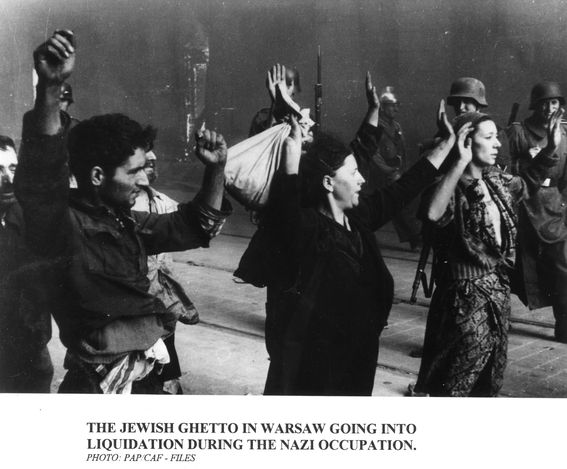 Warsaw, Poland, Jews caught during the Warsaw Ghetto Uprising, 1943.