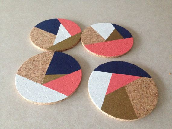 Custom design: Navy Coral Gold White Abstract 4 Round Cork Coasters by Eliza Cerdeiros. Set of $13