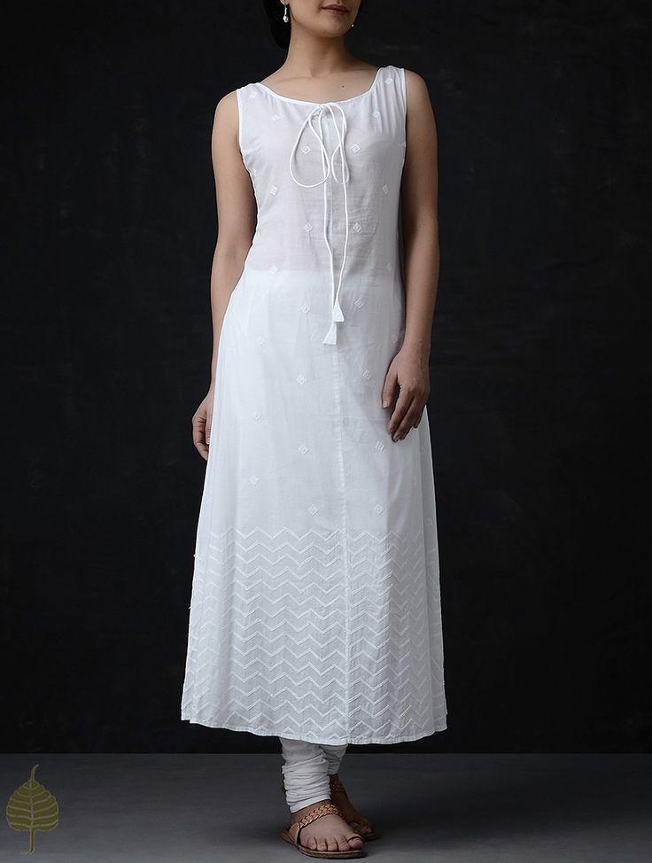 Buy White Chikankari Front Tie Up Cotton Kurta by Jaypore Women Kurtas Summer Celebration Natural dyed Dabu printed dupattas and apparel Online at Jaypore.com