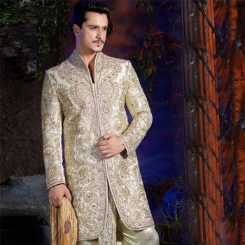 Off White Jacquard Embroidered Sherwani with Dhoti