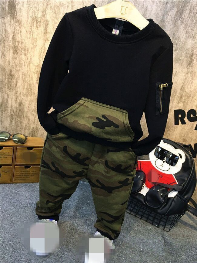 205fe778 2pcs Toddler Baby Boys Long Sleeve Camouflage Tops+Pants Kids Casual  Clothes Set