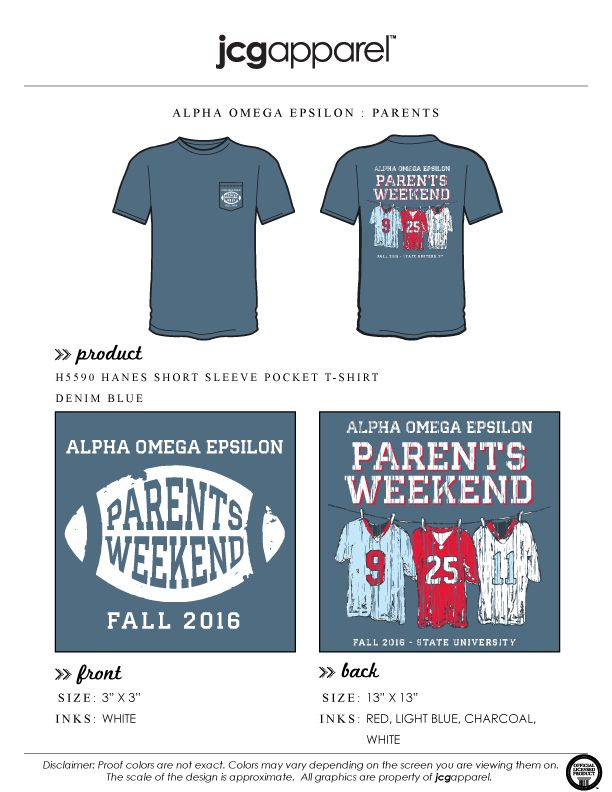 JCG Apparel : Custom Printed Apparel : Alpha Omega Epsilon Parents Weekend…