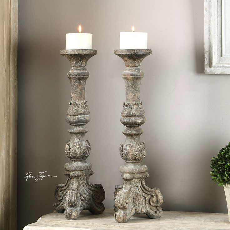Beau Bogdan Antique Candleholders, S/2   Premier Home Decor