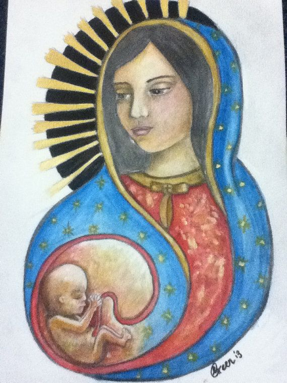 Under My Protection - Limited Edition A4 print of Our Lady of Guadalupe as Protector of the Unborn Child