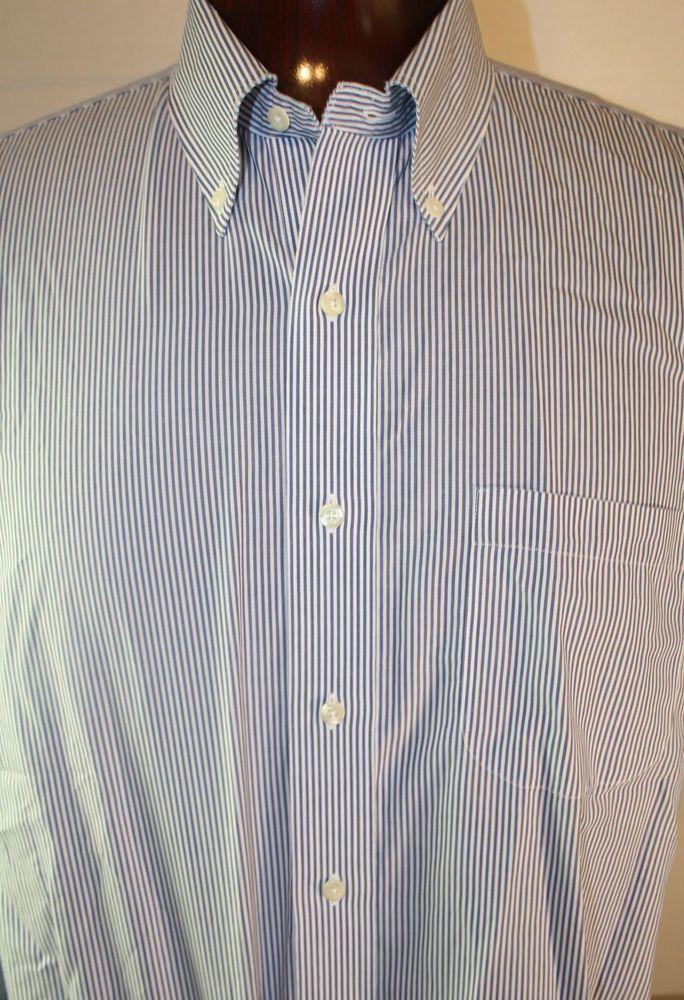 Brooks Brothers 346 Mens Button Front Dress Shirt Long Sleeve Non Iron Sz 17