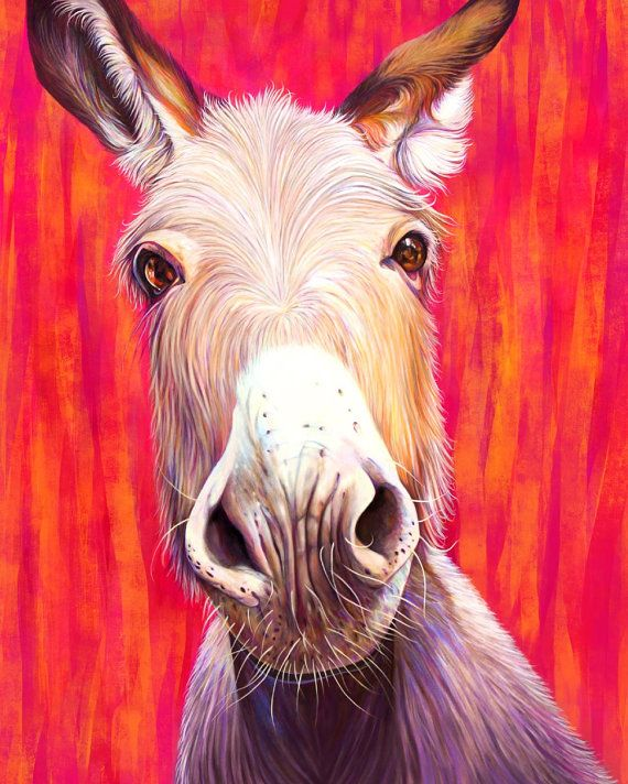 Donkey with Hot Pink Orange and Red Colourful animal loving print by Kate Green Design https://www.etsy.com/ca/listing/268938649/donkey-with-hot-pink-orange-and-red?ref=shop_home_active_8