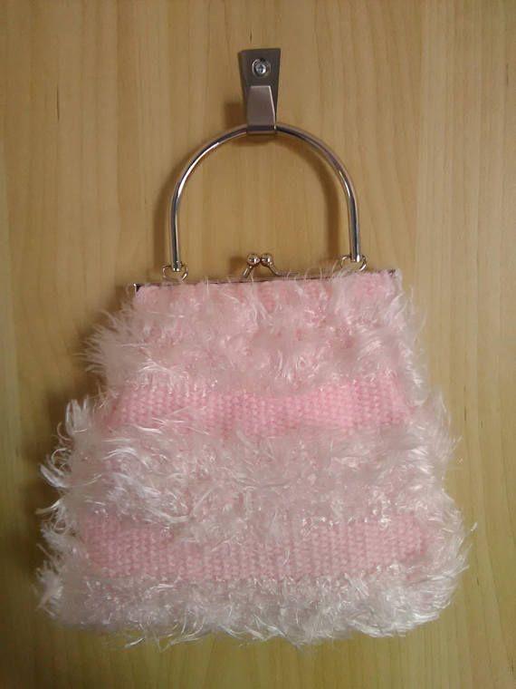 Borsetta / pochette rosa tessuta al telaio