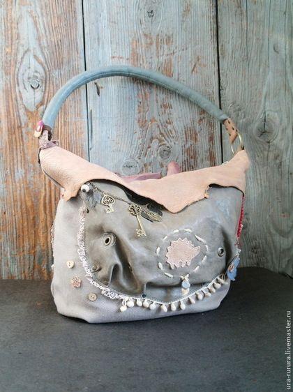 """Сумка """"Бохо - лукошко"""" - серый,бохо,стиль бохо,сумка хобо,сумка в стиле бохо"""