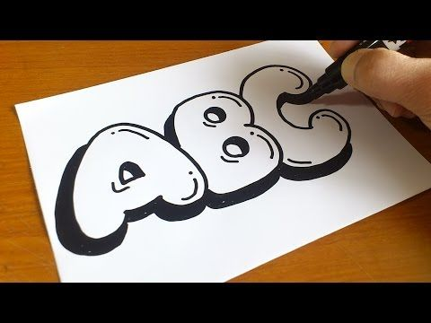 Very Easy ! How to Draw Graffiti Bubble Letters ABC for Kids - YouTube