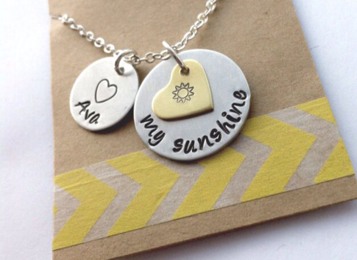 You Are My Sunshine Necklace  My Sunshine Necklace Mommy Necklace Hand Stamped Mom Necklace