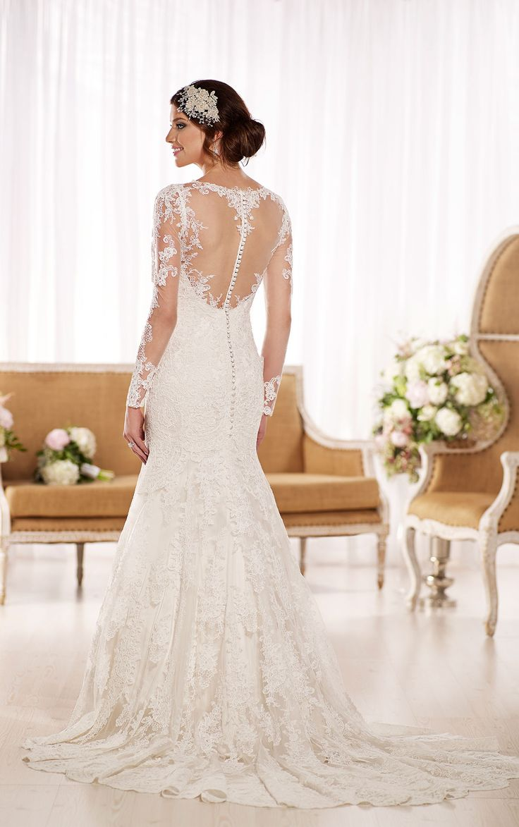 how much does the average wedding dress cost australia%0A Illusion neckline  back and sleeve wedding dress from the Essense of  Australia collection made from beautiful  vintageinspired Lace over rich  Dolce Satin
