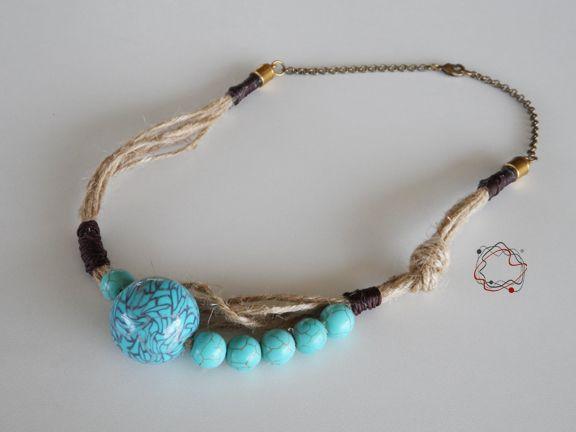 String, Cord & Handmade Bead Necklace
