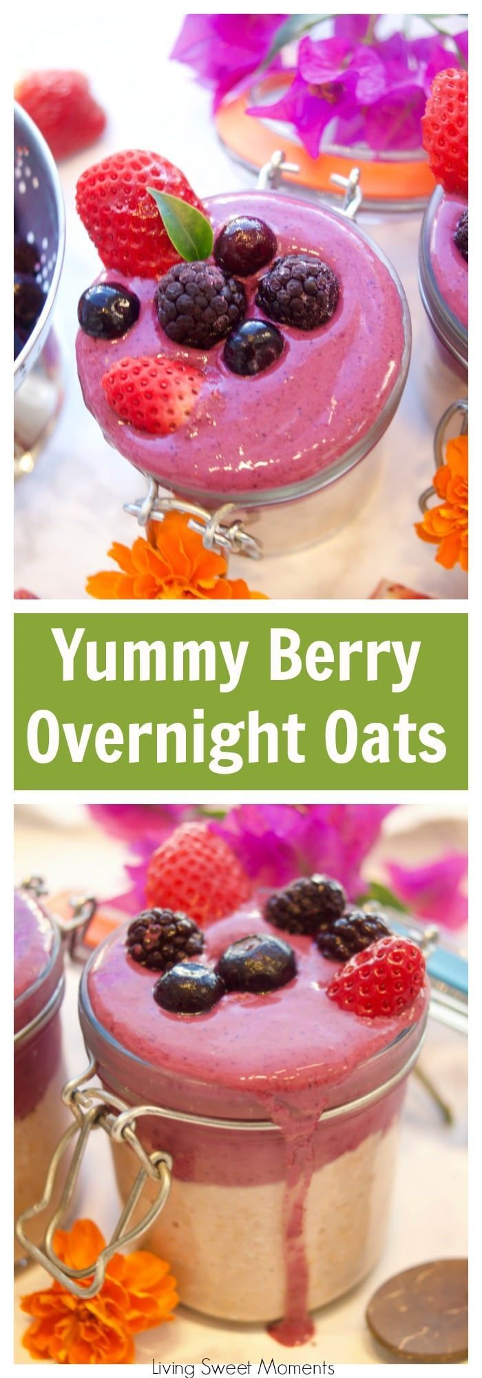 This delicious strawberry overnight oats is topped with a frosty berry smoothie. Enjoy a quick and healthy breakfast idea that will keep you going all morning. More healthy breakfast recipes at livingsweetmoments.com #ad #PerfectPickMeUp  via @Livingsmoments