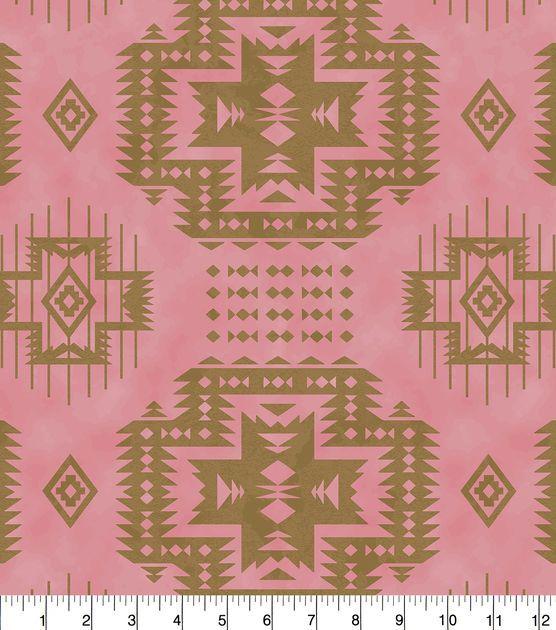 "Anti-Pill Fleece Fabric 58""-Aztec Pink Gold"