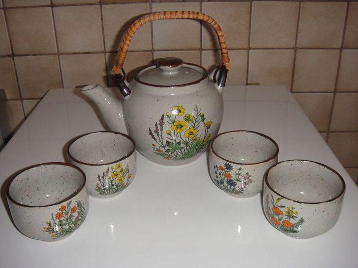 Keramik Teekanne mit 4 Teeschalen grau meliert verschiedene Blumendekor
