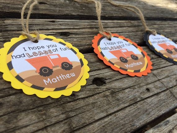 12 Custom Construction Party Favor Tags by BlueOakCreations