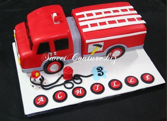 Gateau chocolat camion pompier