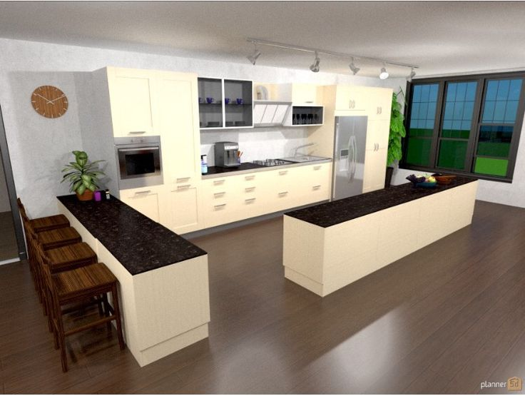 Medium image of modern open plan kitchen  entertainer  designed with app  planner5d  planner5d